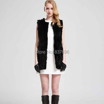 Free Shipping  Winter Women's Genuine Rex Rabbit Fur Vests Lady Natural Fur Outerwear Real Fur Waistcoats Garment