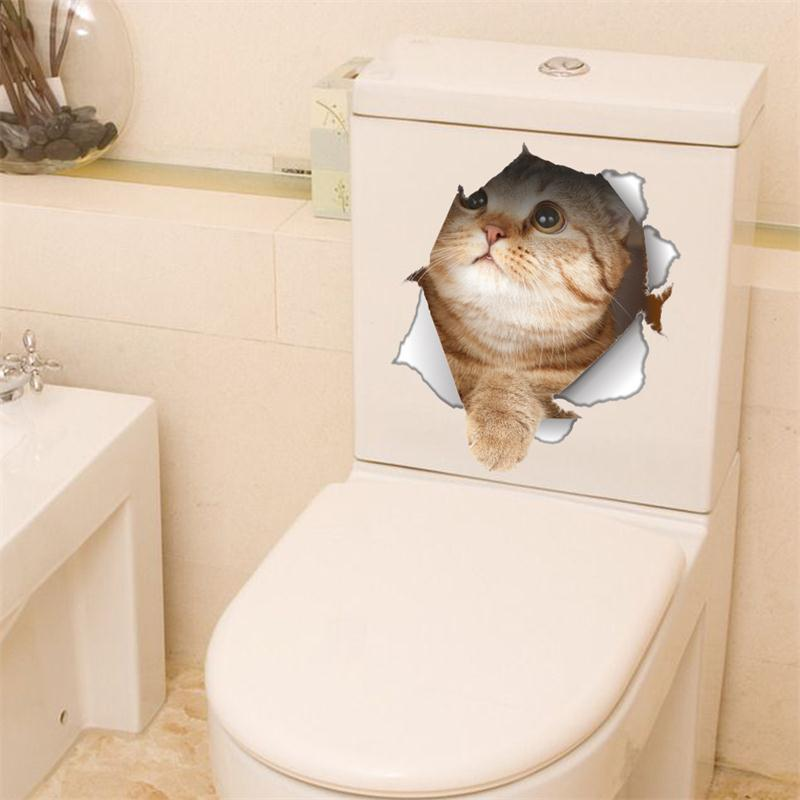 Funny 3D Cat Sticker For Toilet-Free Shipping 3D Wall Stickers Bathroom Stickers