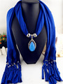 8 color  2017 spring polyester scarf pendant jewelry with alloy pendant water drop stone big Solomon scarves shawl for women