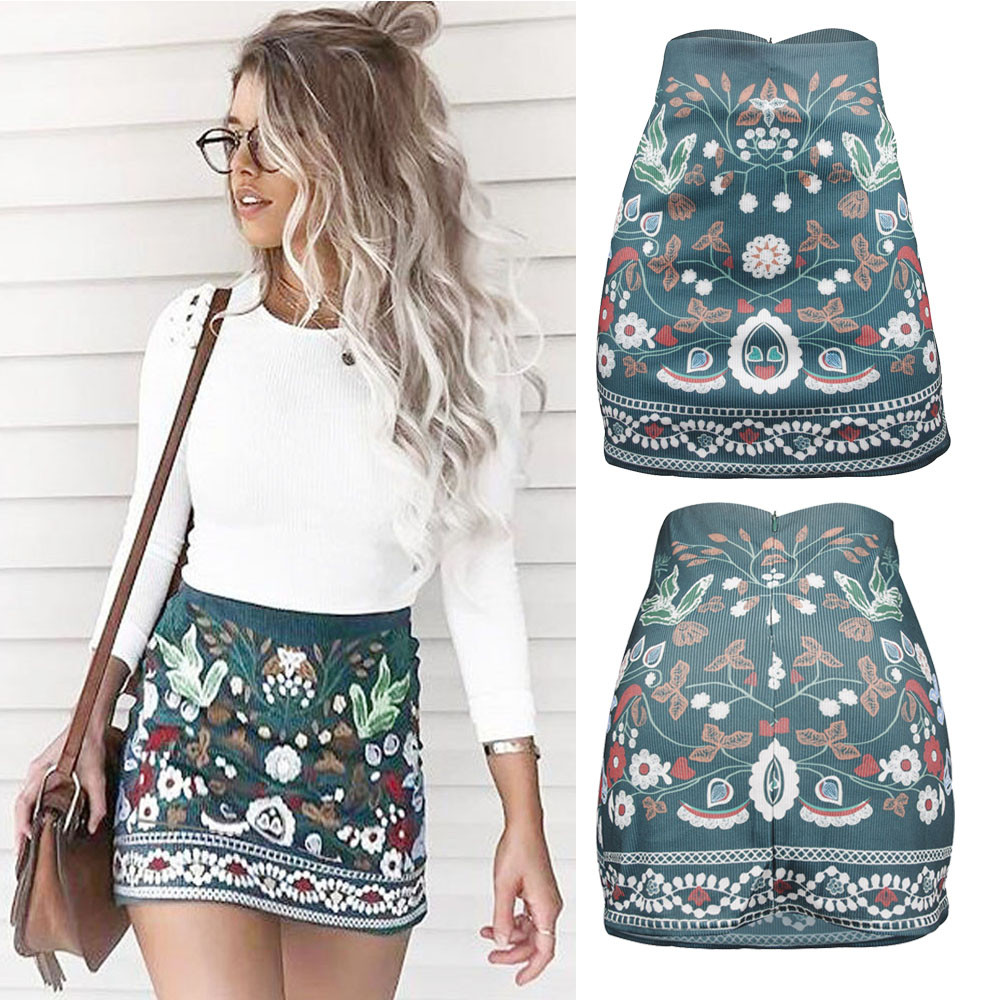 Womail Women Skirt Summer Fashion High Waist Floral Printed Short A-Line Skirt Bodycon Mini Skirt Daily  2020  F8