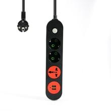 Smart USB мощность полосы гнездо ЕС Plug 3 Выход 2 порты и разъёмы USB зарядное устройство-2 м мощность шнур для телефона камера дома