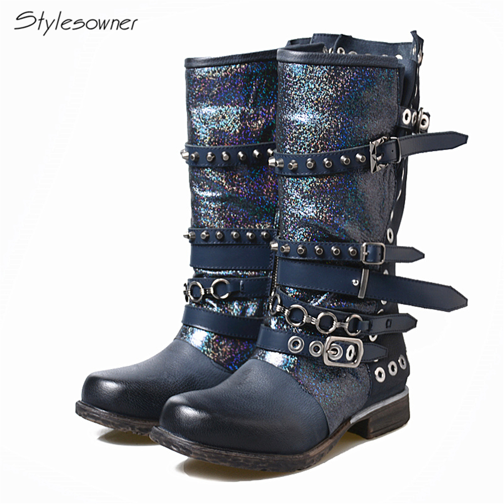 Stylesowner Retro Do Old Leather Mid-Calf Boots Women Rivets Metal Chains Patchwork Botas Mujer 2018 New Arrival Handmade Shoes stylesowner 2018 new arrival chunky heel lace up mid calf boots patchwork elastic sock boots women slim real leather retro boots
