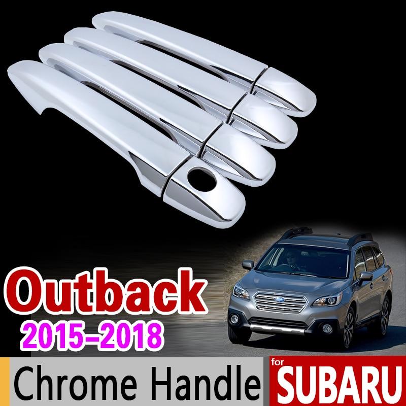 for Subaru Outback Luxurious Chrome Door Handle Cover Trim Set Legacy 2015 2016 2017 2018 Accessories Stickers Car Styling реснички на фары subaru legacy b4