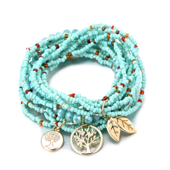 Bohemian Style Life of Tree Leave Charm Beads Bracelets For Women 2