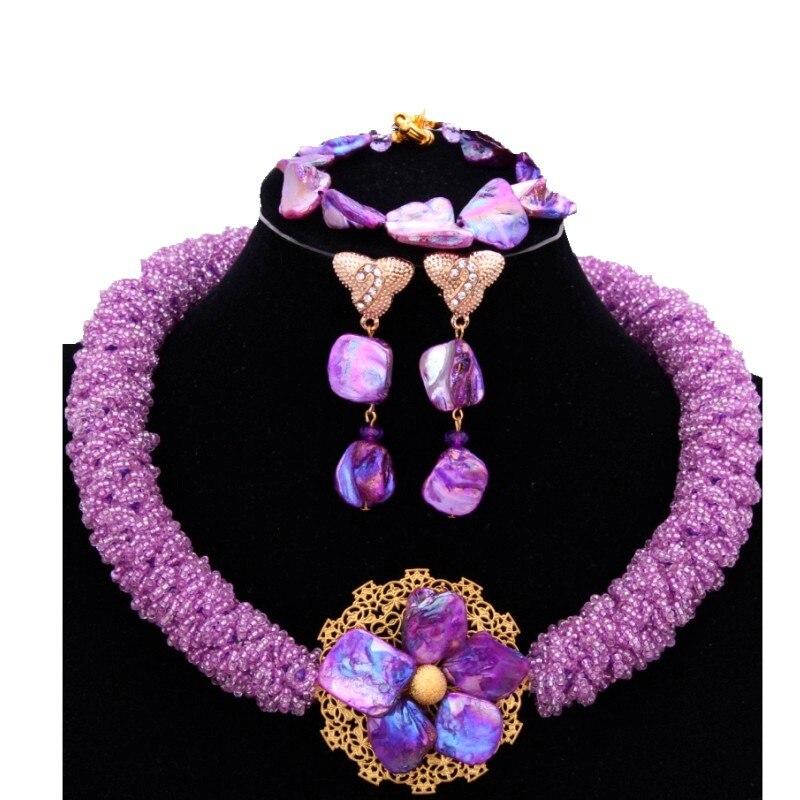 Romantique violet nigérian mariage perles africaines bijoux arabes ensembles fournisseur pour bijoux femmes perles Antique célébrité bijoux