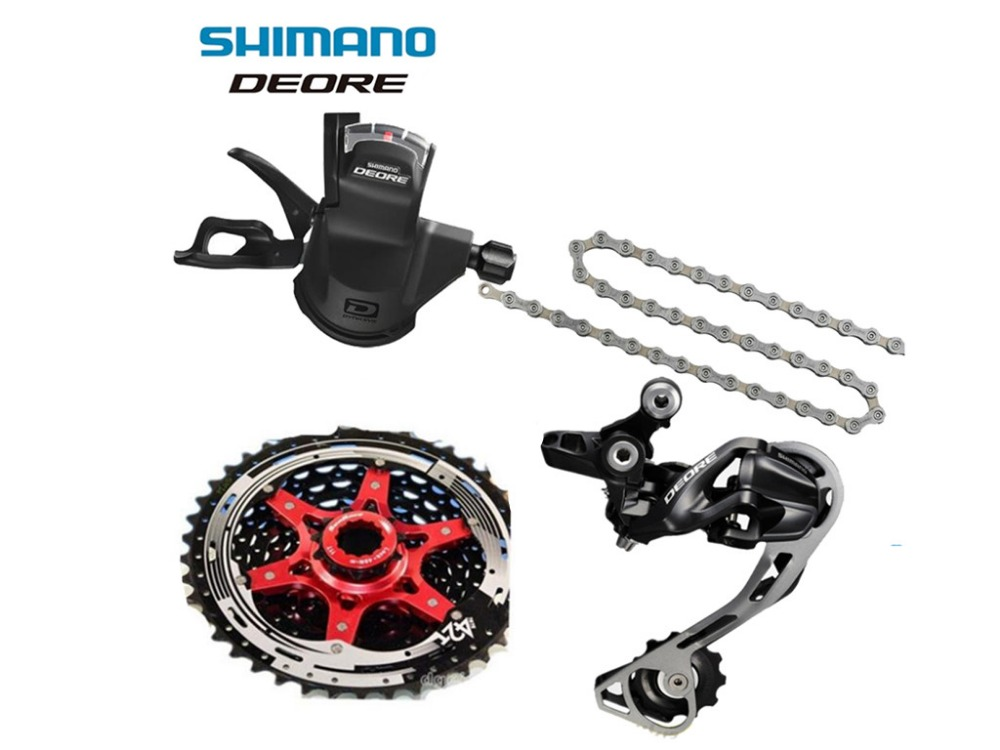 Shimano DEORE M610 1x10S 10S Speed MTB Bicycle Groupset with Shifter lever & Rear Derailleur & Chain & Sunrace Cassette 42T bicycle mtb 3x10 30 speed front rear shifter derailleur groupset for shimano m610 m670 m780 system