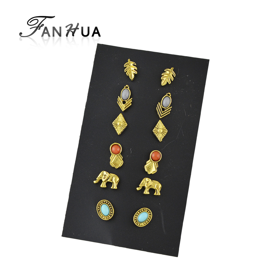 Set New Style Simple Cute Earrings Goldcolor Branches  Elephant Rhombus