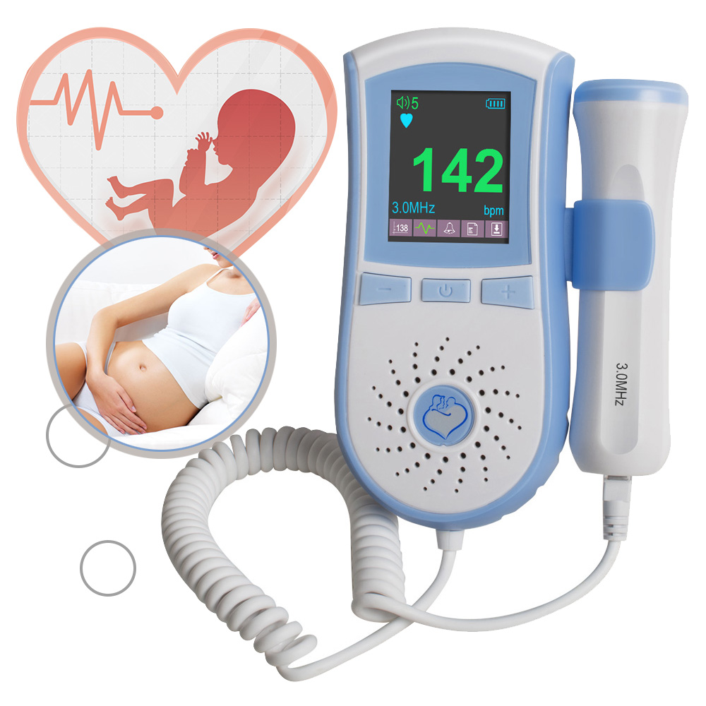 3MHz Probe Pocket Fetal Doppler Dual Interface Display Color LCD Display Prenatal Heart Baby Heart Monitor3MHz Probe Pocket Fetal Doppler Dual Interface Display Color LCD Display Prenatal Heart Baby Heart Monitor