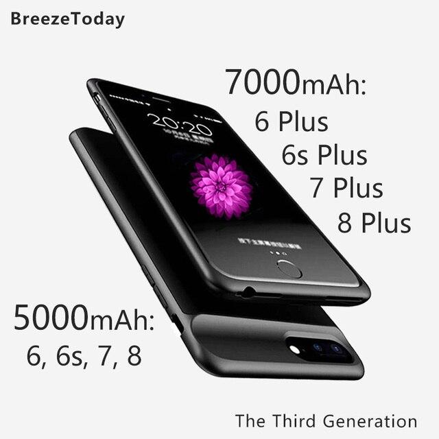 7000 Caixa de Bateria 5000 mAh Caso Carregador de Bateria Para o iphone 6 6 Plus 6 s Plus 6 s 7 7 além de 8 8 Mais Banco de Potência чехол аккумулятор