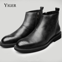YIGER NEW Men Ankle Boots Genuine Leather Chelsea Man Boots Bullock Boots Fashion Four seasons Style Black/Brown Shoes 0009