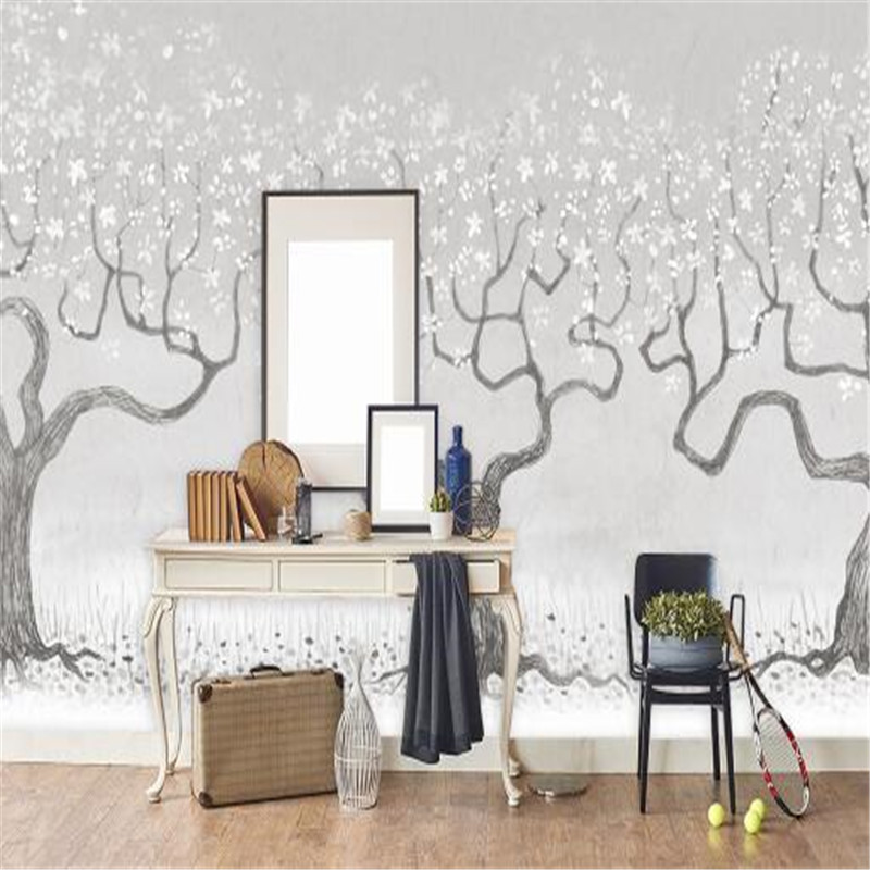 Modern Murals Nordic Minimalist Flowers Photo Wallpapers for Walls 3D Wallpapers Nature Trees Wall Papers Home Decor Living Room circle mirror photo wallpapers 3d modern abstract murals wall papers home decor wallpapers for living room wall paste wall mural