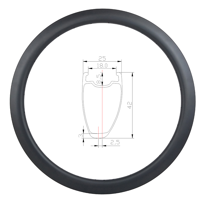 385g 42mm asymmetric road disc carbon rim tubeless clincher 25mm wide U shape 700c wheel UD