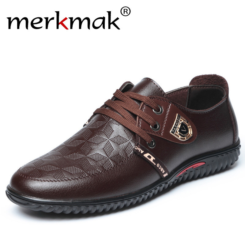 Merkmak Men Casual Shoes 2018 Spring Lace up Super Comfort Breathable Genuine Leather Fashion Mens Leisure Shoes for Driving new 2017 men s genuine leather casual shoes korean fashion style breathable male shoes men spring autumn slip on low top loafers