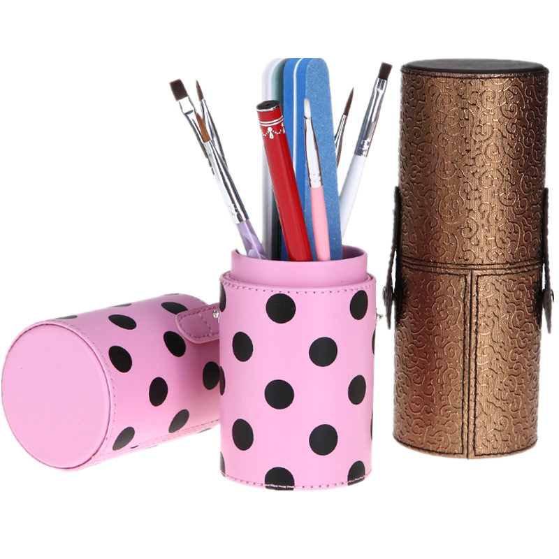 PU Leather Cup Portable Makeup Brush Round Pen Holder Cosmetic Tool Container Colorful 5 Optional Case Storage Tools new empty portable makeup brush round pen holder cosmetic tool pu leather cup container solid colors 6 optional case v2 tf