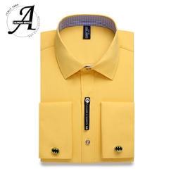 Али Для мужчин s и нежный Для мужчин s французская запонка платье рубашка Для мужчин с длинными рукавами Одноцветный полосатый стильная