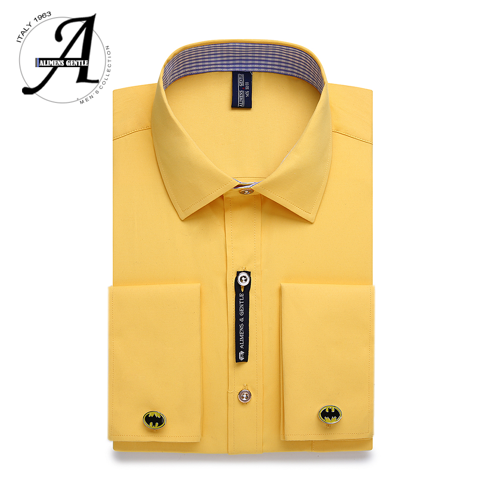 Alimens & Gentle Mens French Cuff Dress Shirt Men Long Sleeve Solid Color Striped Style Cufflink Include 2019 Fashion New(China)
