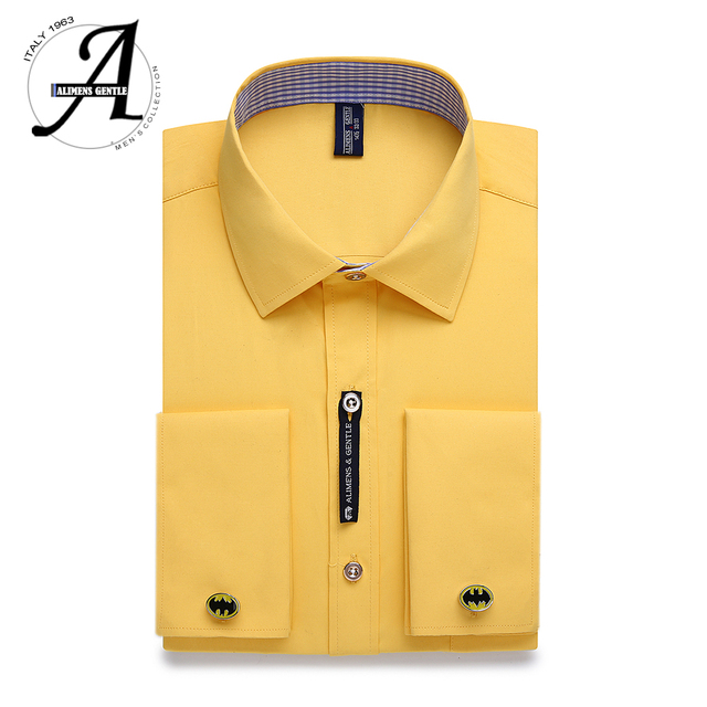 114249fb271 Alimens   Gentle Mens French Cuff Dress Shirt Men Long Sleeve Solid Color  Striped Style Cufflink Include 2019 Fashion New