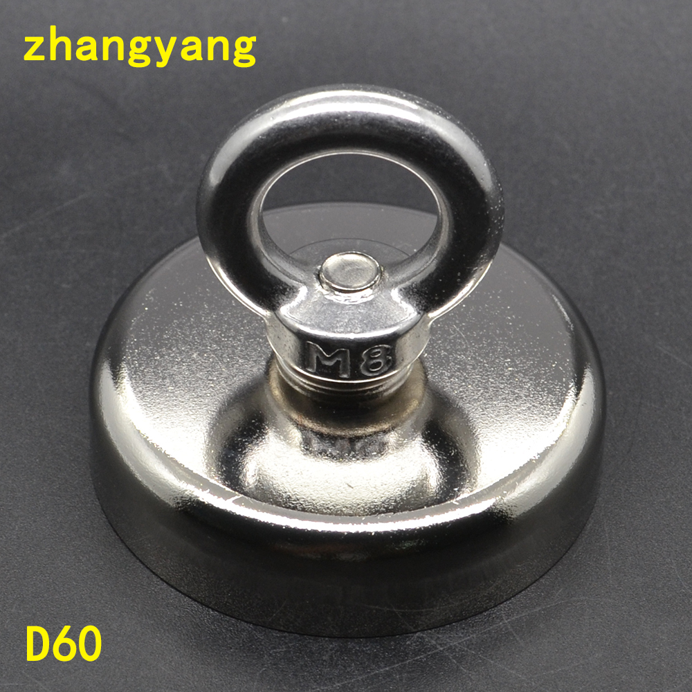 1 pz Tirando Montaggio D60mm forte potente neodimio Magnetico Pentola con anello attrezzi da pesca, deap mare attrezzature di salvataggio D60