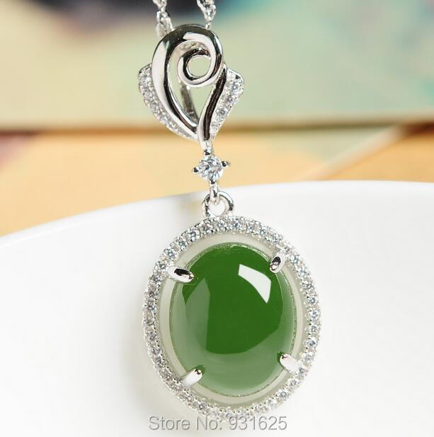 925 silver Natural Green HeTian Jade Gem Stone Inlay Beauty Design Dangle Lucky Pendant Necklace + certificate Fine Jewelry