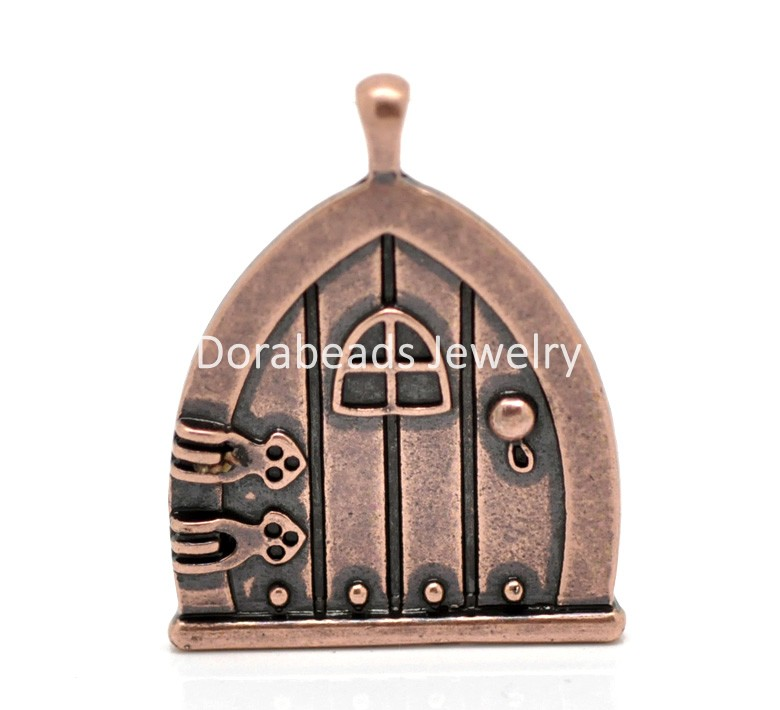Doreen Box Lovely 10PCs Copper Tone Fairy Wish Door Charm Pendants  35x27mm(1 3/