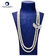 [YS] Fine Jewelry Natural White Freshwater Cultured Pearl Princess Sweater Necklace For Women 65cm Length Free shipping
