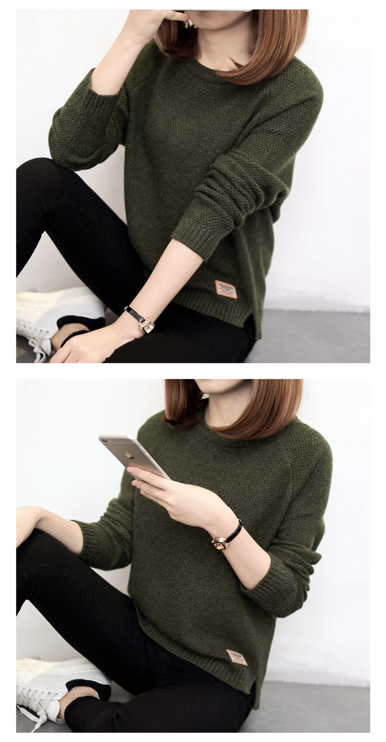 Autumn sweater 19 Winter women fashion sexy o-neck Casual women sweaters and pullover warm Long sleeve Knitted Sweater 11