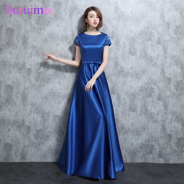 0c1d9cdac660 Real Photo Vintage Royal Blue Prom Dresses Short Sleees With Cap Bow Sashes  Side Pockets Satin Floor Length Long Prom Gown