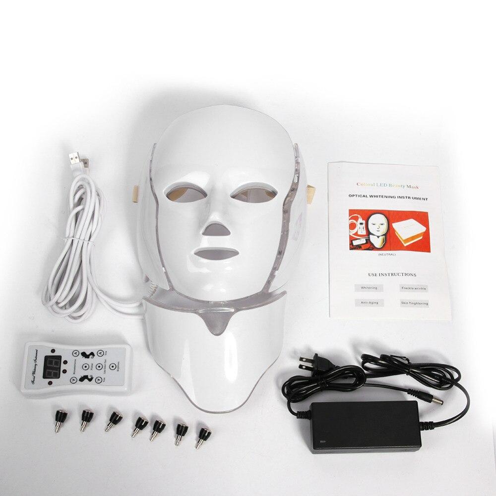 7 цветов свет светодиодный маска для лица с шеи омоложения кожи уход за лицом Красота анти-акне средство для подтяжки кожи для использования...