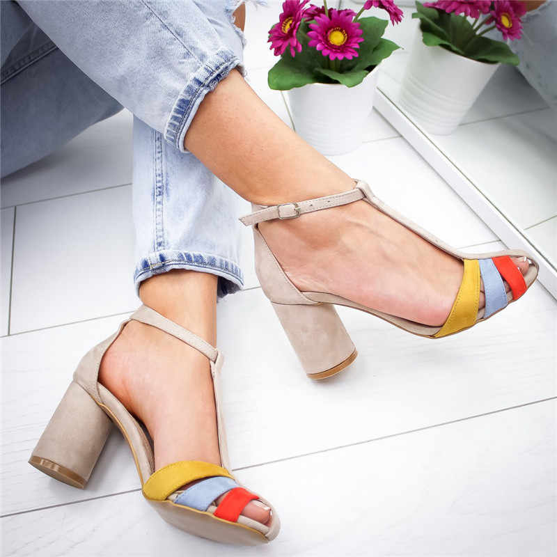 Womens Square Heel Sandals Women Summer Shoes Woman High Heel Sandals Ladies Open Toe Shoes Women High Heels Shoes With Straps