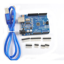 2pcs/lot DCCduino  UNO Improved Version ATmega328 for  Arduino UNO R3  USB Cable Blue