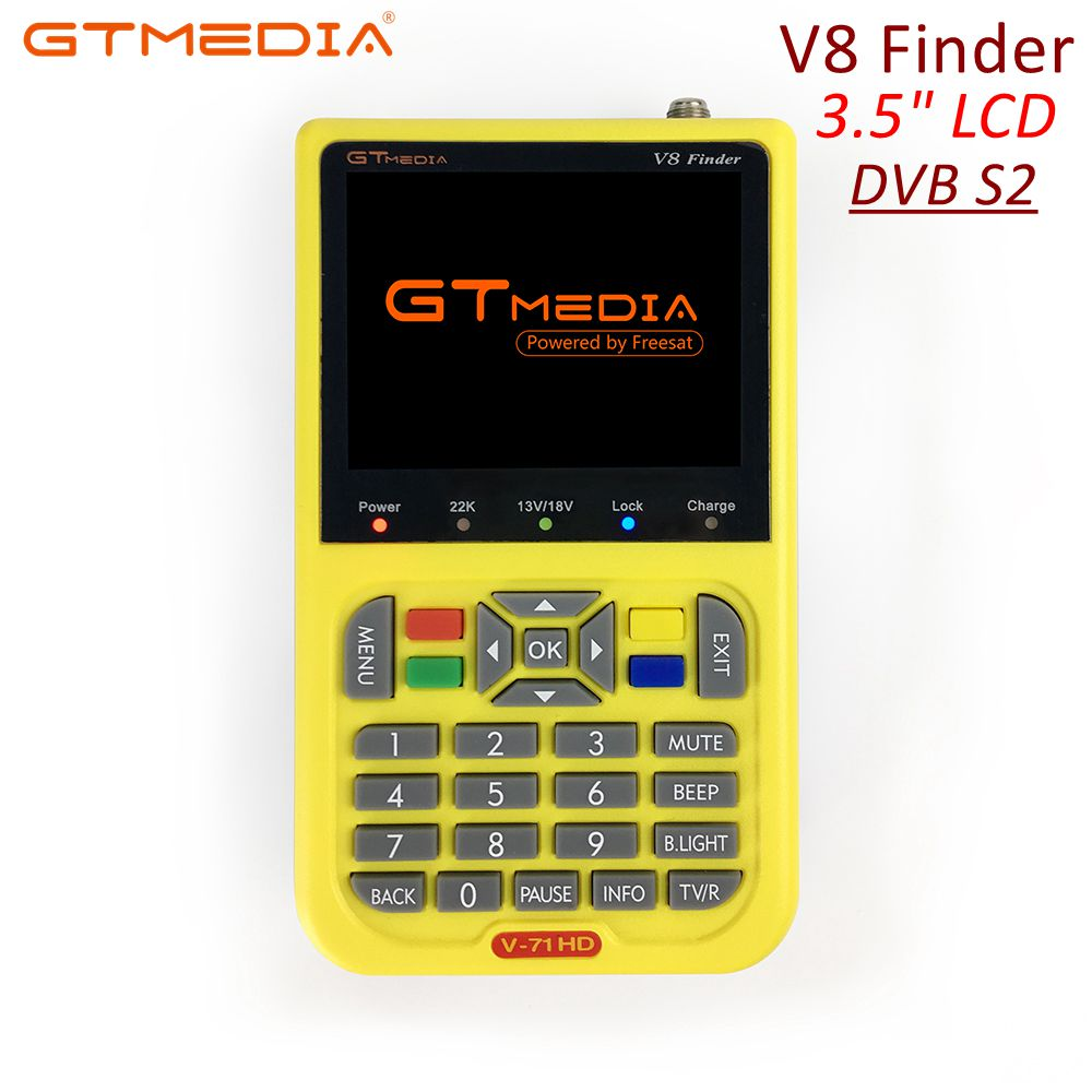 GTmedia Satellite Finder Meter V8 Finder HD DVB-S2 SatFinder 3.5 Inch Color With 3000mA Battery Freesat V8 Finder FTA Sat Finder