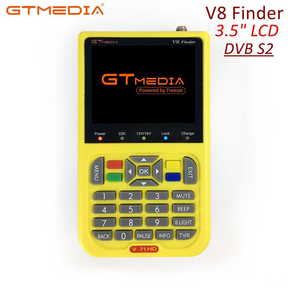 GTmedia Satellite Finder Meter V8 Finder HD DVB S2 SatFinder 3.5 inch Color with 3000mA Battery Freesat V8 Finder FTA Sat finder-in Satellite TV Receiver from Consumer Electronics