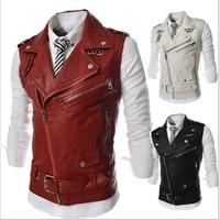 2016 New Arrival Men S Casual Multi Zipper Leather Vest Short Design Turn Down Collar Slim