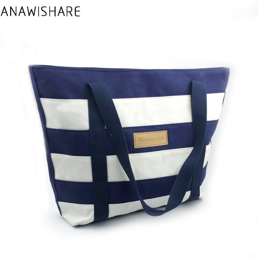 ANAWISHARE 2017 Women Handbag Canvas Large Capacity Shoulder Bag Summer Style Ladies Tote Bags Bolsos Mujer B0012