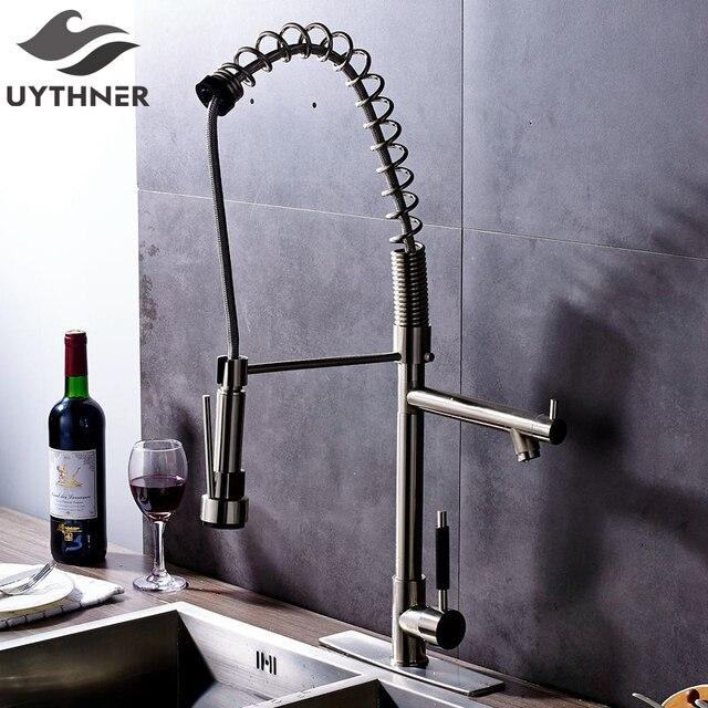 Uythner Erhöhen Nickel Gebürstet Deck Montiert Küchenarmatur ...