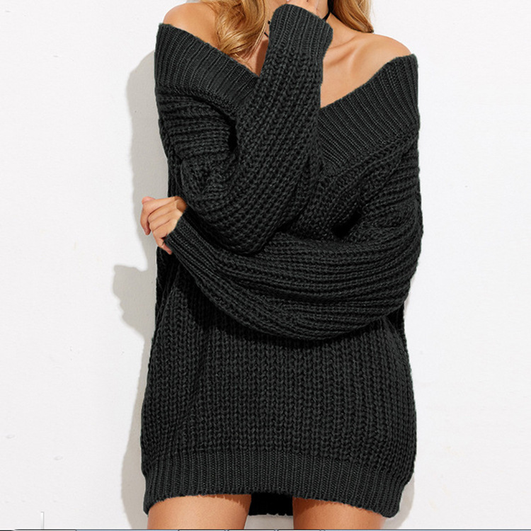 Off shoulder knitted sweater women 2017 Winter black oversized ...