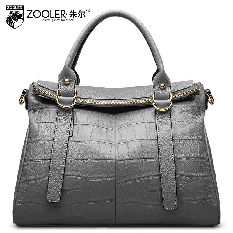Women bag 2017 new zooler genuine leather bag brand fashion crocodile grain quality women leather handbag shoulder messenger bag