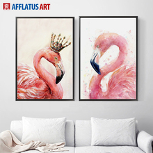 AFFLATUS Flamingo Watercolor Painting Nordic Poster Wall Art Print Canvas Painting Animals Wall Pictures For Living Room Decor watercolor leaf flamingo tassel hanging painting wall decor print