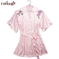 Fdfklak Floral Robe Women's Dresses 2018 Spring Summer Bridal Robes Bathrobe For Women Robe Silk Satin Bathrobe Bridesmaid Q739
