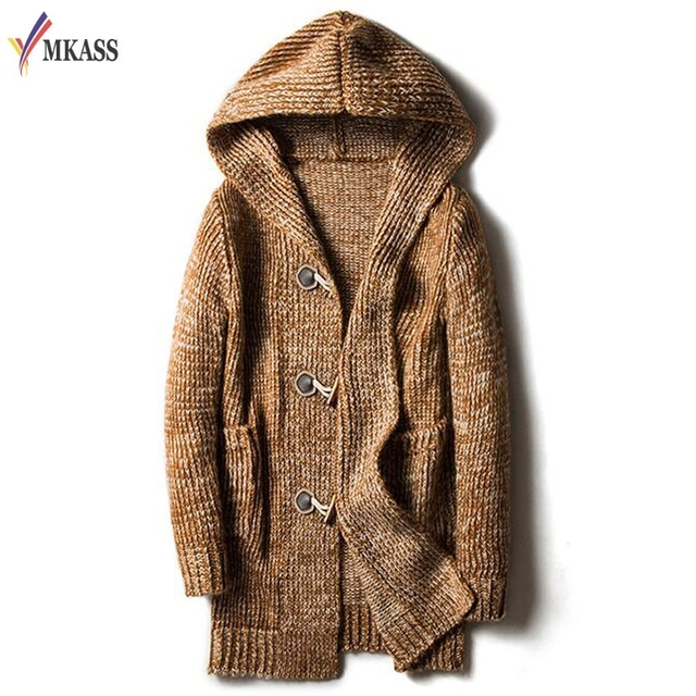 Autumn Winter Loose Long Mens Cardigans Sweaters New Fashion Jumpers Mens  Hooded Sueter Knit Sweater Jersey Sudaderas Plus Size 0e693ef19