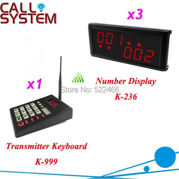 1 передатчик и 3 дисплей Беспроводной очереди Управление Системы для ресторан кафе