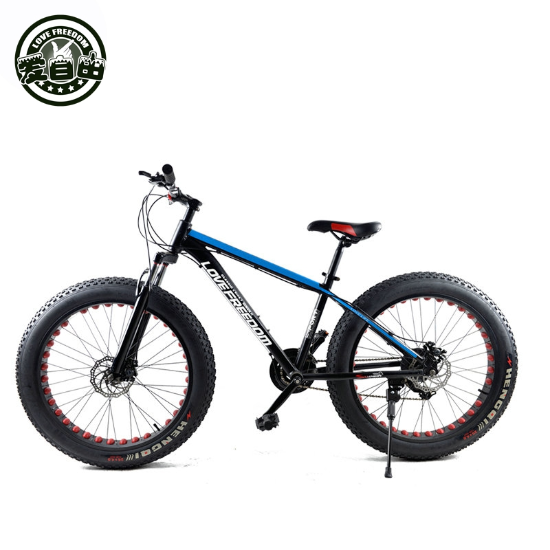Love Freedom 7/24/27 Speed ​​Mountain Bike Cross Country Aluminium Frame 26 * 4.0 Fatbike Skivbroms Snöcykel Gratis Leverans