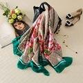 Женщины Шелковый Шарф Люксовый Бренд Весна Большой Цветочный Длинные Шелковые Шарфы Платки 2017