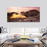 Canvas Prints The Pebble Stones under Sunset Landscape Yellow Posters pictures photo Wall Art for Home Living Decorations gift