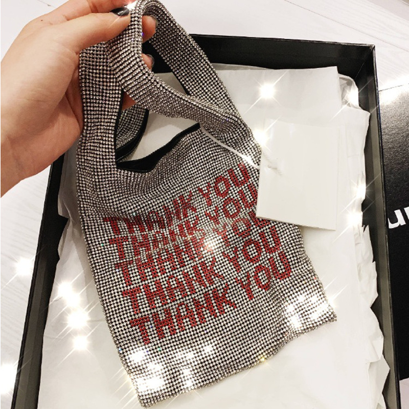 2019 Women Clutch Bags Print Thank you drill bag bling with small water diamond bag Fashion Ladies Tote Bags C0352019 Women Clutch Bags Print Thank you drill bag bling with small water diamond bag Fashion Ladies Tote Bags C035