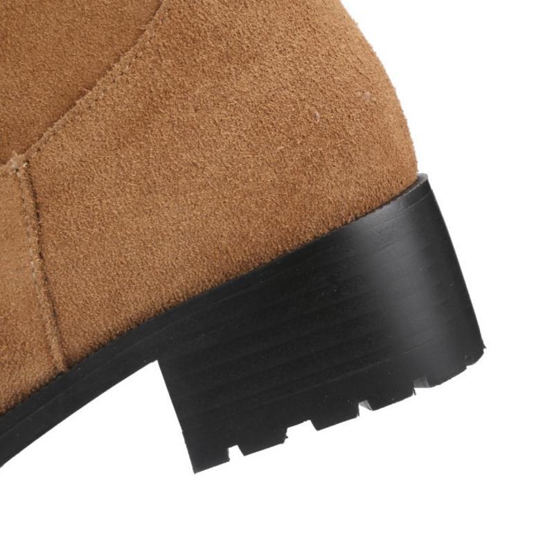 Boucle brown 34 Fourrure Avec Mi Femme mollet Taille D'hiver Chaud Pour Talons Lebaluka Chaussures Femmes En 43 Hauts Long Noir Bottes Métal 71q0O