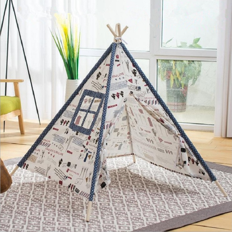 Kids Indian Play Tent Children Teepees Cotton Canvas Fabric Playhouse Indoor Toy Tent Kids Room Decoration Photo Props