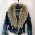 Женская осенняя джинсовая куртка с меховым воротом
