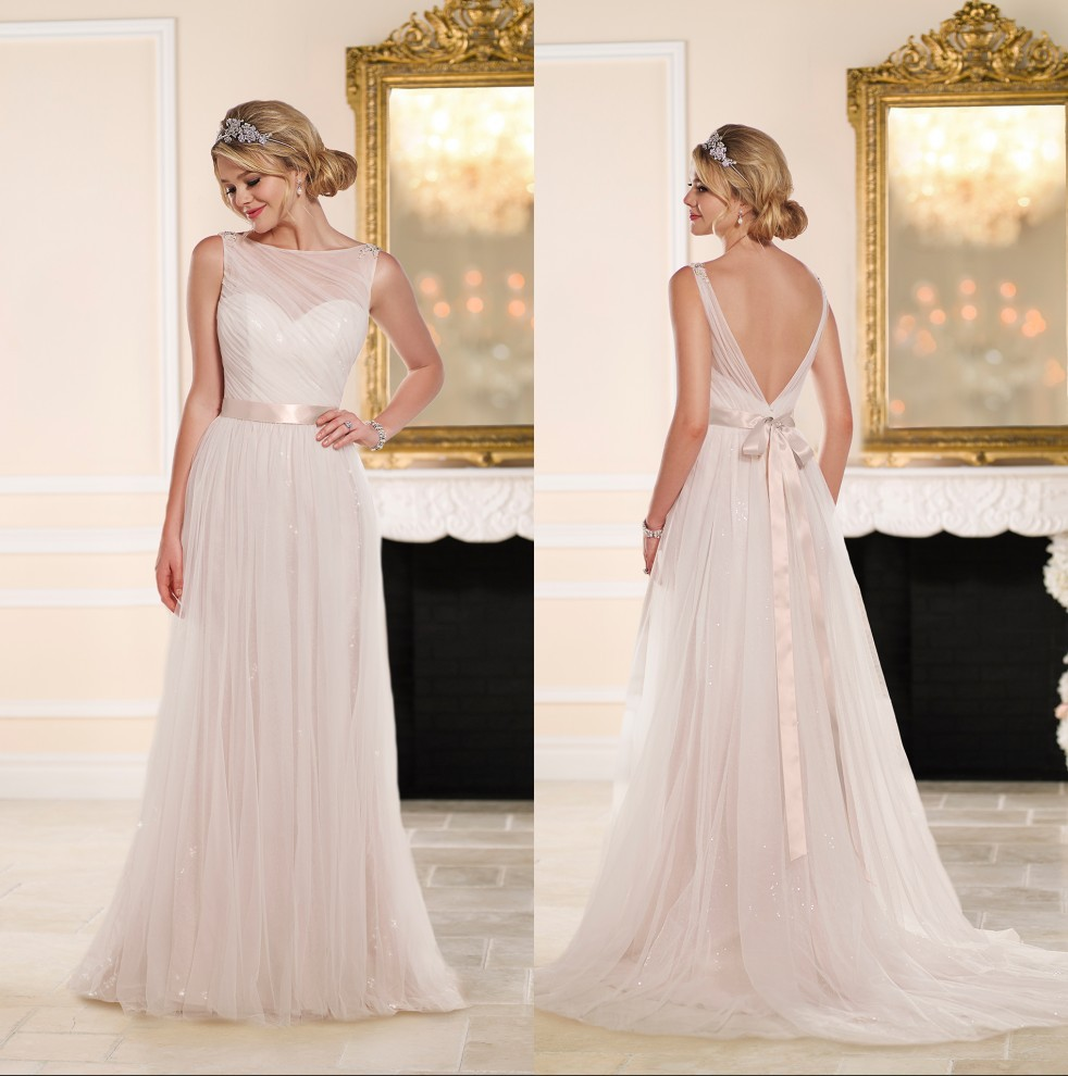chic lgant une ligne simple robe de marie sans manches backless tulle balayage train 2015 robe de marie avec sash - La Roub De Mariage