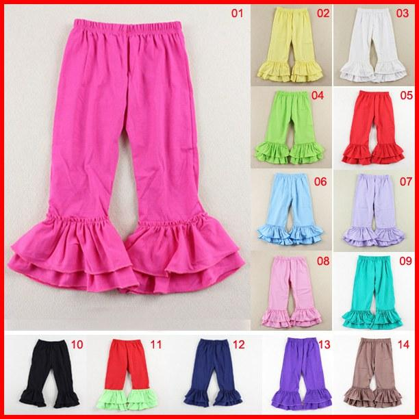 30c61de205dae 14 color Red green Solid color Ruffle pants for Baby toddler Girl Double  Ruffles Flare Pants Fancy Flare Pants 10pcs-in Pants from Mother   Kids on  ...
